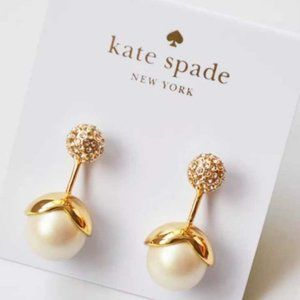 Kate Spade Golden Bud Suspended Pearl Stud Earring